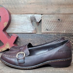 BOC Comfortable Brown Leather Slip On Loafers